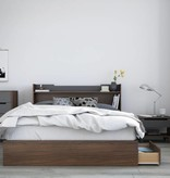 "Nexera Cartel Queen Headboard (60"") with Storage, Walnut and Charcoal"
