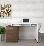 Nexera Desk White and Walnut, Essentials