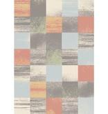 Kalora Focus Grey/Salmon/Blue Patchwork Rug 8ft x 10ft