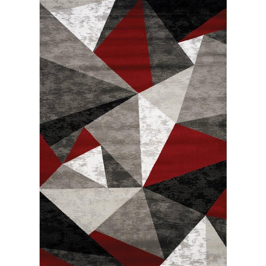 Kalora Tapis Platinum Triangle Rouge Gris Noir 8pi X 10pi M2go