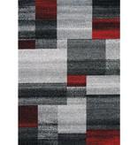 Kalora Freemont Grey/Red Blocks Rug 8ft x 10ft