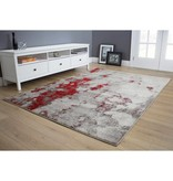 Kalora Freemont Grey/Red Abstract Expression Rug 8ft x 10ft