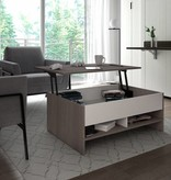 Bestar Lift-Top Storage Coffee Table in Bark Gray and White, Small Space