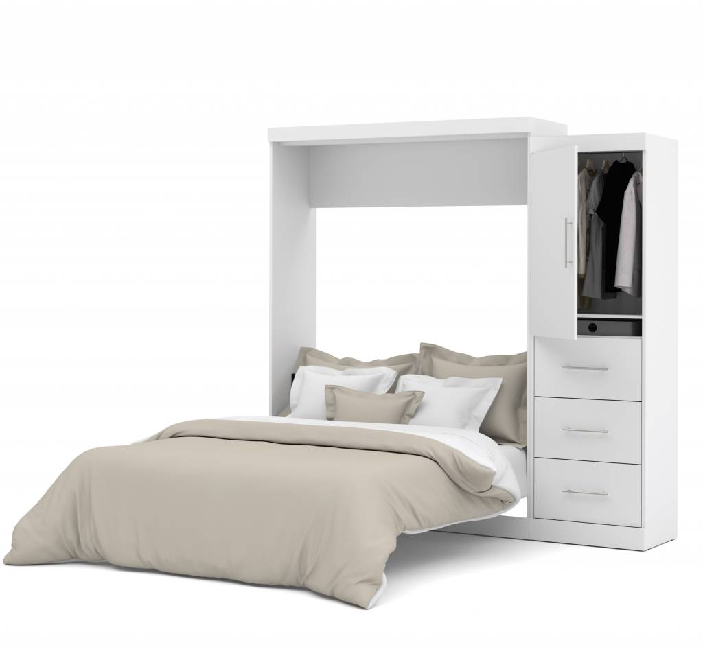 Picture of: Bestar Queen Wall Bed 90 Kit In White Nebula M2go