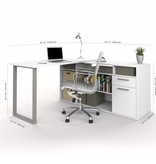 Bestar L-Shaped Desk in White, Solay