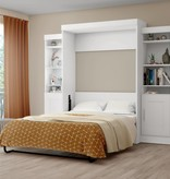 """Bestar Full Wall Bed with two 21"""" Storage Units in White, Edge"""