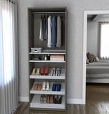 Bestar Shoe/Closet Storage Unit Featuring Reversible Shelves in Bark Gray and White, Cielo
