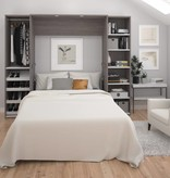 Bestar Classic Full Wall Bed kit 98'' in Bark Gray and White, Cielo