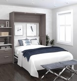 Bestar Elite Full Wall Bed kit 79'' in Bark Gray and White, Cielo