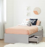 """South Shore Cookie Twin Mates Bed (39"""") with 3 Drawers, Light Grey"""