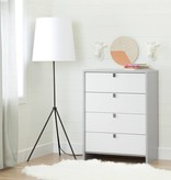 South Shore Cookie 4-Drawer Chest, Light Grey and White
