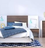 Nexera Celebri-T 6 pcs Bedroom Set, White and Walnut, Twin Bed (39'')