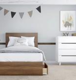 "Nexera 3-Drawer Twin (39"") Size Bed, Walnut, Boreal"