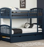 South Shore Ulysses Solid Wood Bunk Beds-Twin-Navy Blue