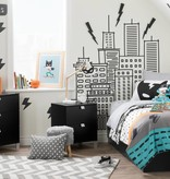 South Shore DreamIt Superheroes Reversible Full Comforter and Pillowcases-Full-Black and White