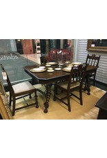 """Dining Table w 12"""" Leaf, Iron Scroll Stretcher and 6 Matching Chairs"""