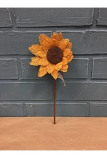 Burlap Sunflower Pick, Yellow