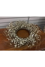Ivory Pip Twig Wreath, 22""