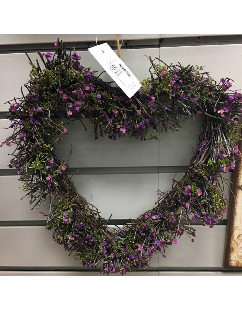 Lavender Twig Heart Wreath