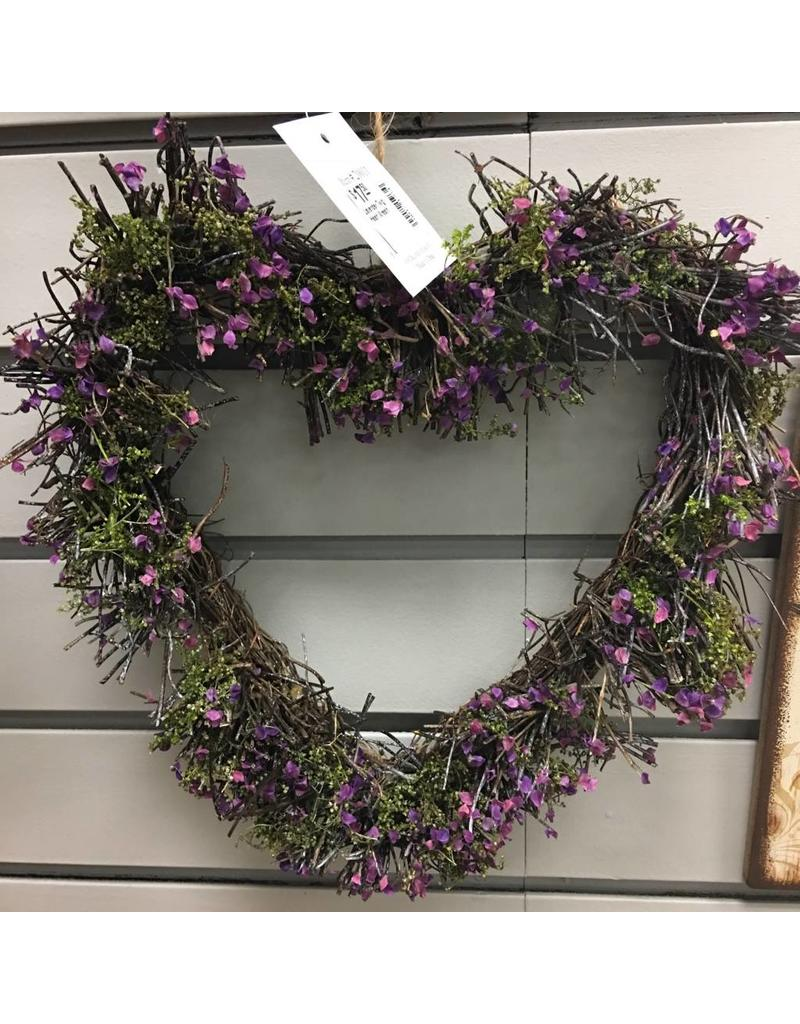 Lavender Twig Heart Wreath