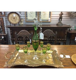 Italian Green and Gold Cordial Set w/ 6 Glasses