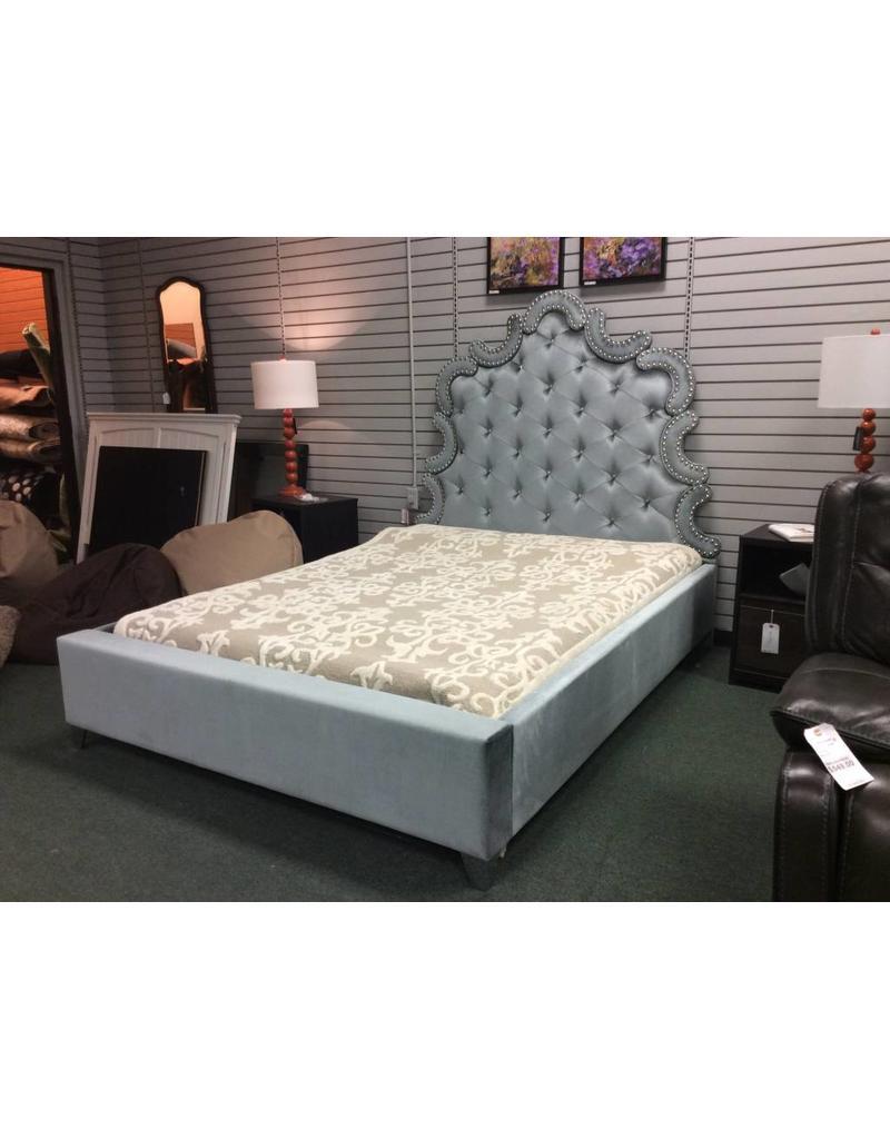 Spence velvet upholstered platform bed queen