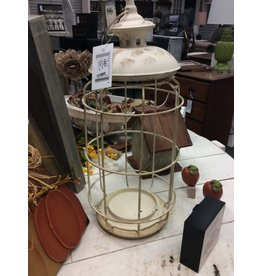 Round White Birdcage Lantern, 17x8