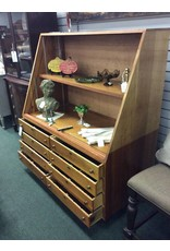 Wood Display Case w 8 Drawers and 3 Shelves