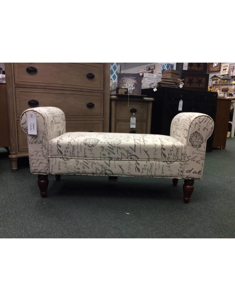 Round Hill Furniture French Script Upholstered Bench Ottoman