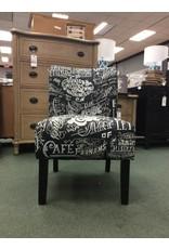 Round Hill Furniture Chalkboard Shadow Wingback Slipper Chair