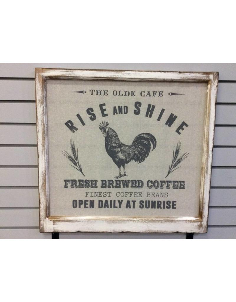 Framed Fabric Rise and Shine Rooster Picture