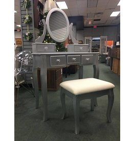 Round Hill Furniture Silver Vanity w Oval Mirror and Upholstered Bench