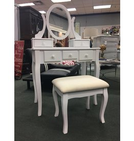 Round Hill Furniture White Vanity w Oval Mirror and Upholstered Bench