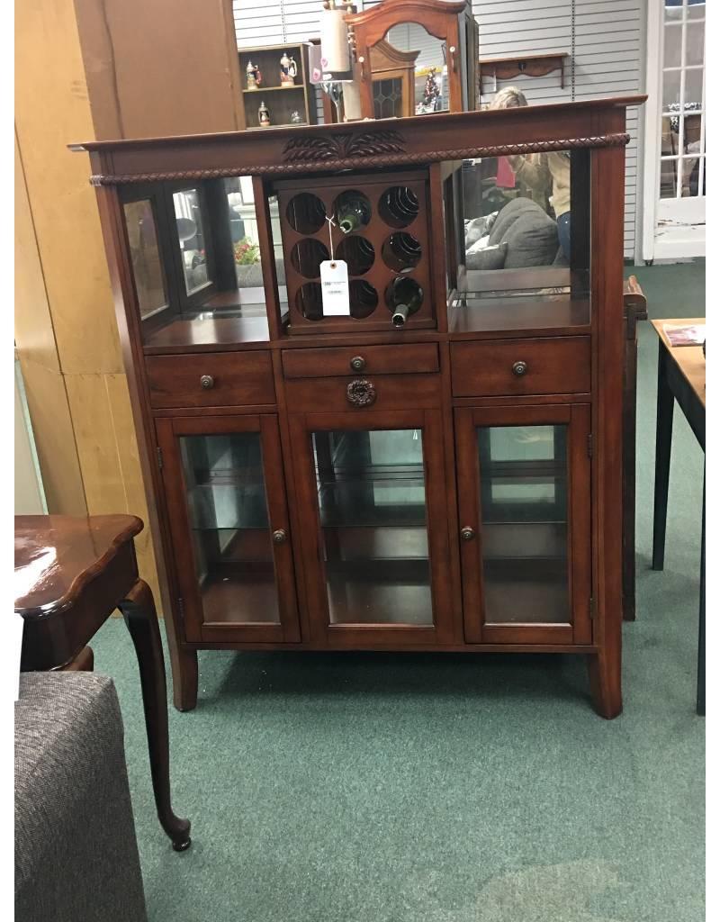 Dark Wood Bar Cabinet w Wine Rack