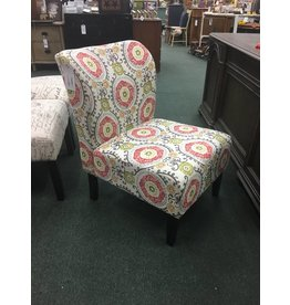 Round Hill Furniture Floral Print Wingback Slipper Chair