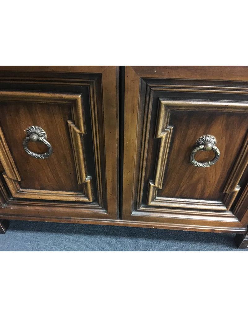 Vintage Solid Wood Etagere w Cabinet Base