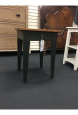 Wooden End Table w Green Base and Stained Top