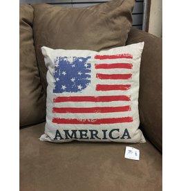 "America Flag Pillow, 16"""