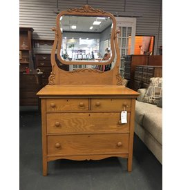 Vintage 4 Drawer Oak Dresser w Attached Mirror