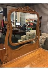 Vintage 4 Drawer Oak Dresser w Attached Mirror