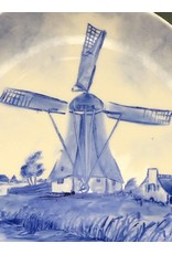 Flow Blue Painted Windmill Plate