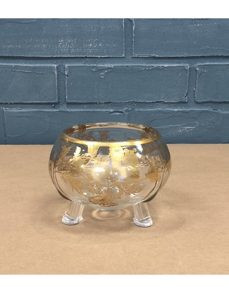 Footed Clear Glass Dish with Gold Detail