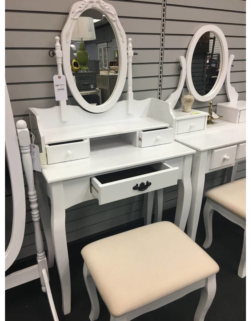 White Vanity with Hutch Top and Mirror