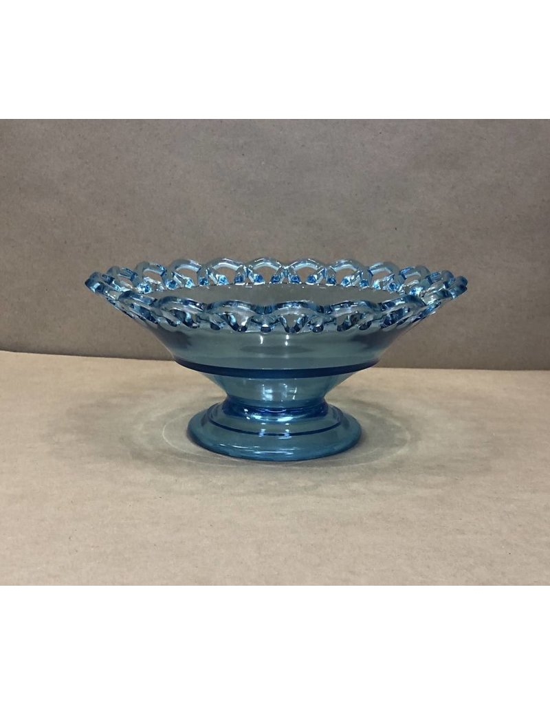 Blue Footed Candy Dish w Lace Edge