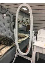 White Oval Freestanding Mirror