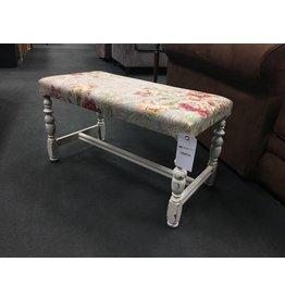 Floral Upholstered Bench w Painted Base
