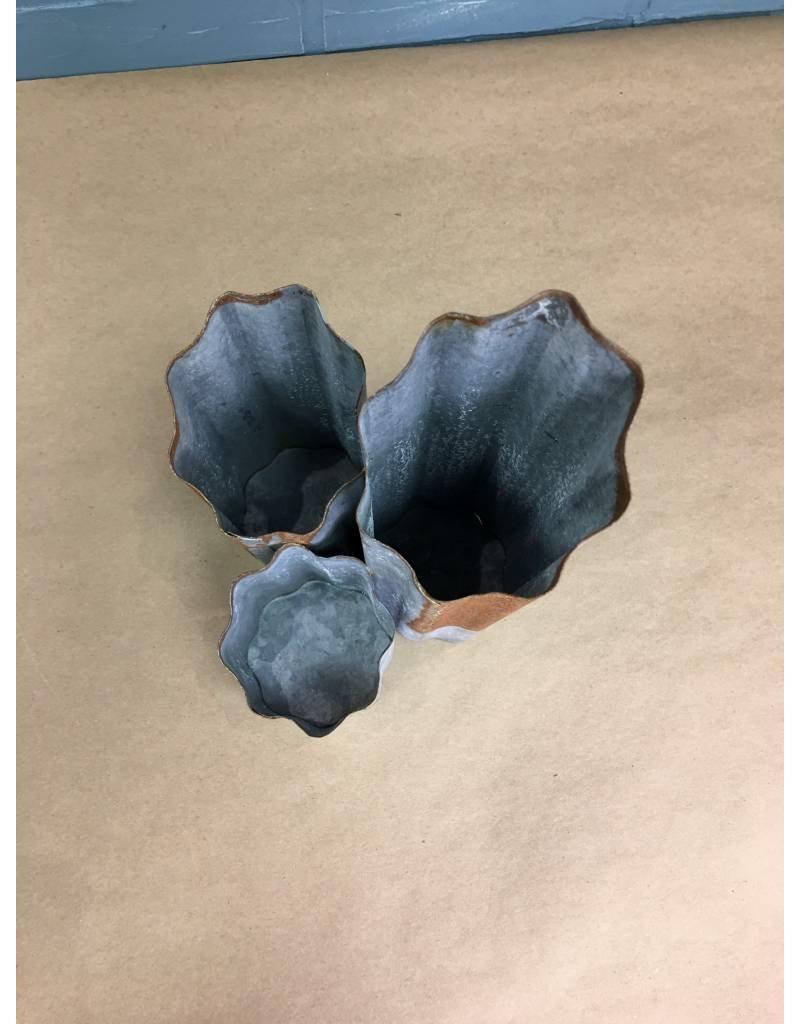 Three Tiered Galvanized Vase