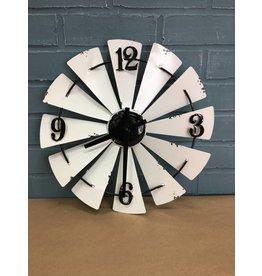White Enamel Windmill Wall Clock