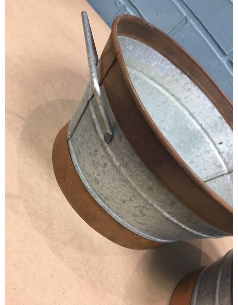 2/Set, Rusty Galvanized Buckets