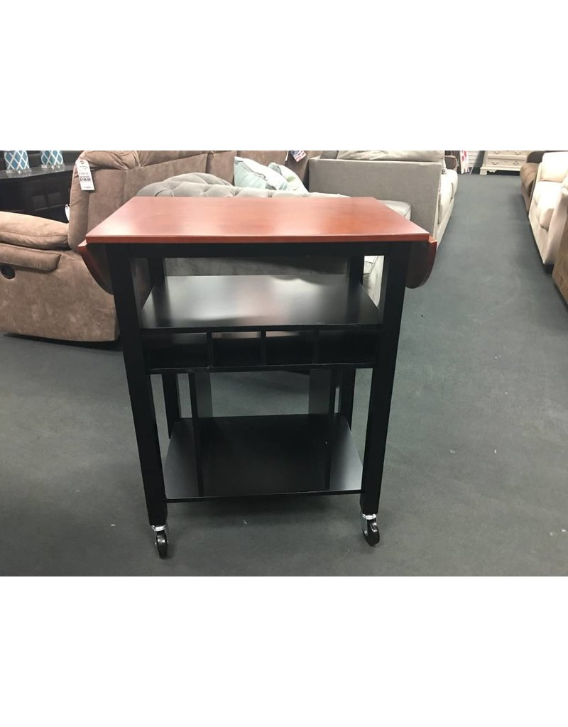 Two Toned Black and Cherry Wood Kitchen Cart ...  sc 1 st  Heirloom Home & Two Toned Black and Cherry Wood Kitchen Cart - Heirloom Home